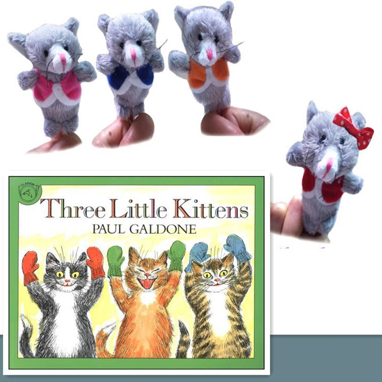 48PC/LOT Nursery Rhyme Puppets-The Three Little Kittens Plush Finger Puppets Pattern For Kids Educational Talking Props Baby Toy(China (Mainland))