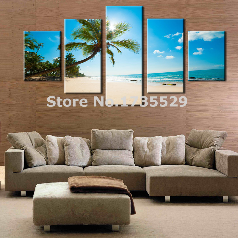 5 Panels Modern Canvas Wall Art Sunshine Coconut Tree Beach Seascape