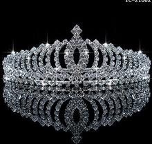 New silver plated rhinestone wedding bridal tiara hairbands accessories sparking women crown 2015 big sale(China (Mainland))