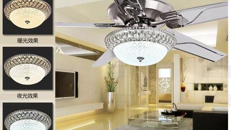 Luxury Decorative Crystal Chandelier Fan Living Room Bedroom Diningroom Chandelier Fan Light