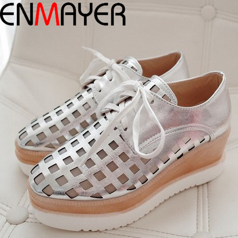 ENMAYER women Oxfords heel shoes High quality fashion dress casual lady shoes women sexy British retro lace oxford shoes 34-39<br><br>Aliexpress
