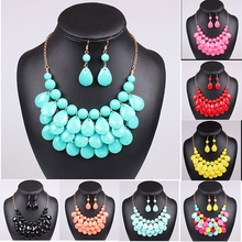 Hot Acrylic Bead Chokers Statement Necklaces 2016 Bib Bubble Necklace Earrings Jewelry Set Multi layer Jewellery Sets Collar(China (Mainland))