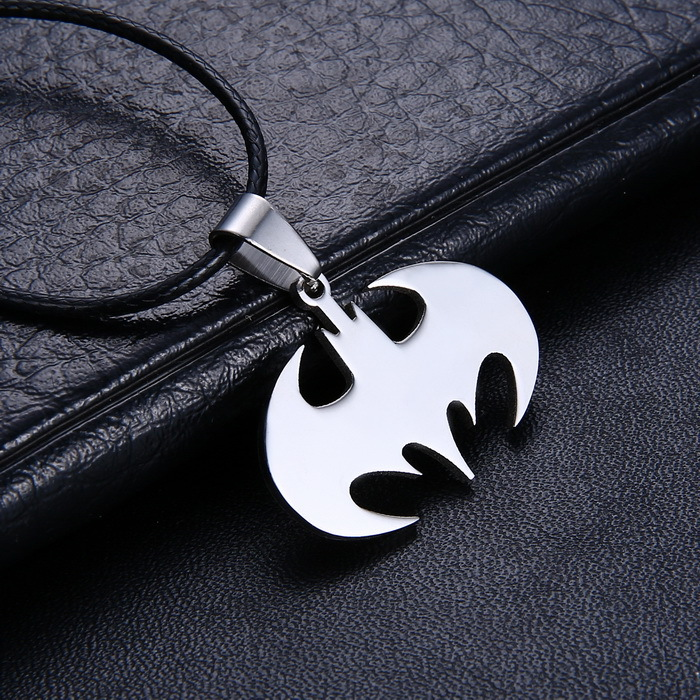 Free Shipping Fashion Jewelry Slippy Bat Batman Sign Pendant 316L Stainless Steel Necklaces leather chain Mens Necklaces(China (Mainland))