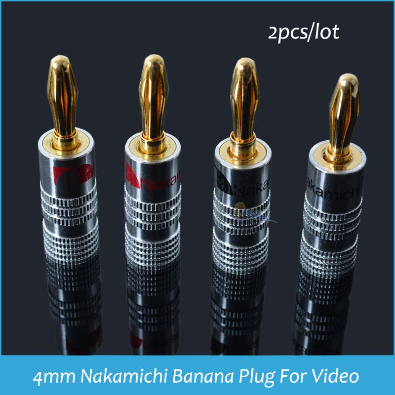 4mm Nakamichi Banana Plug For Video 24K Speaker Copper 4mm Banana Plug black &amp; red banana plug Audio Connector 2PCS<br><br>Aliexpress