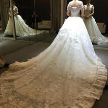 Buy C.V Wedding dresses 2017 slit boat neck short sleeve ball gown royal train plus size bridal long trailing luxury wedding dress for $134.30 in AliExpress store