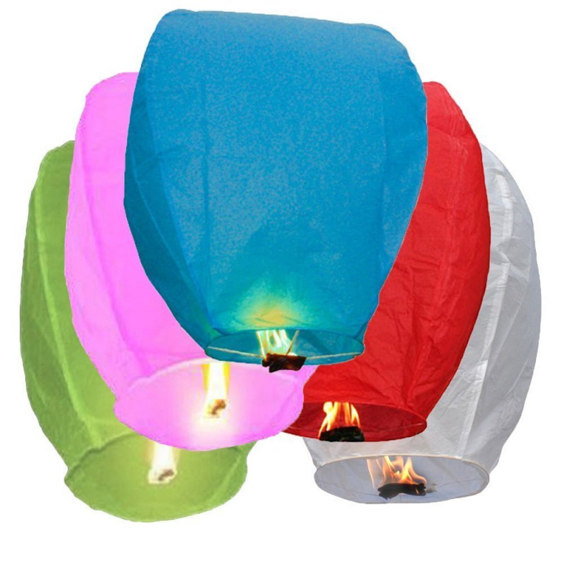 Multicolor Paper Chinese Lanterns Fire Sky Flying Candle Wish Lamp Birthday Wish Party Wedding Decoration(China (Mainland))