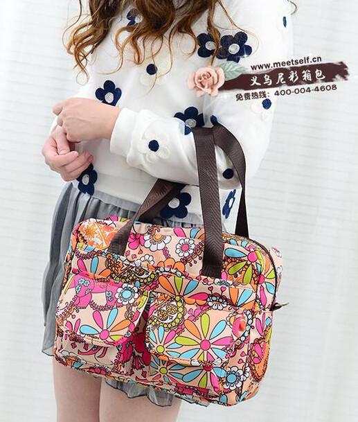 5pcs/lot free shipping Flower printed waterproof nylon plus size handbag women shoulder bag beach soft bag womens shopping tote<br><br>Aliexpress