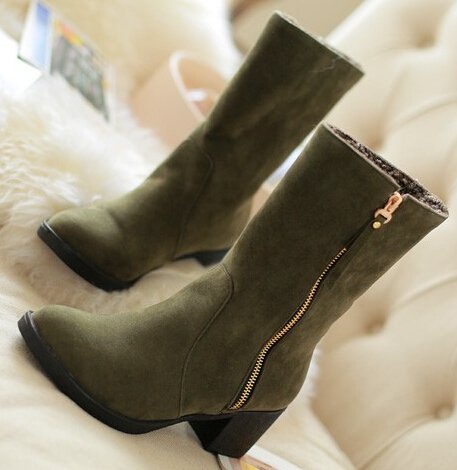Women new fashion autumn winter short snow zipper boots 6cm thick high-heeled solid color shoes large plus size 40-43 - Forever18 Store store