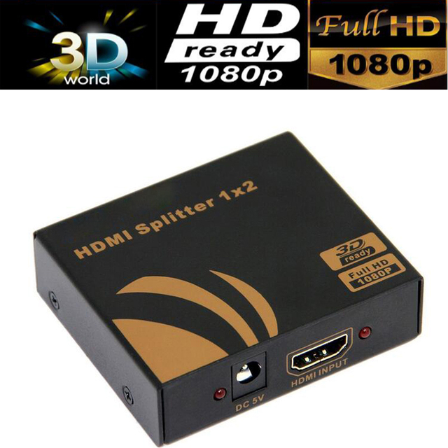 3D HDMI SPlitter 1X2 split one HDMI input to 2 HDMI output with power supply