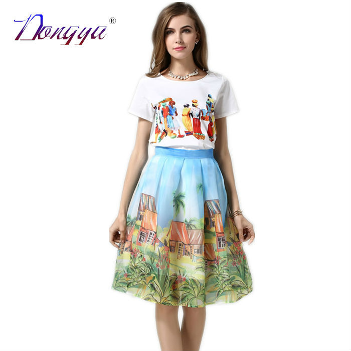 2 Piece Set Women Two Pieces Outfits 2015 Summer Style Suit Womens Clothing Set Top And Skirt Set Short Print Midi Skirts Sets(China (Mainland))