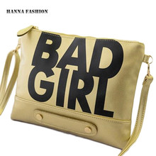 With Good Gifts!2016 European trendy BAD GIRL letters handbag women shoulder bag ipad bag women day clutch bags(China (Mainland))