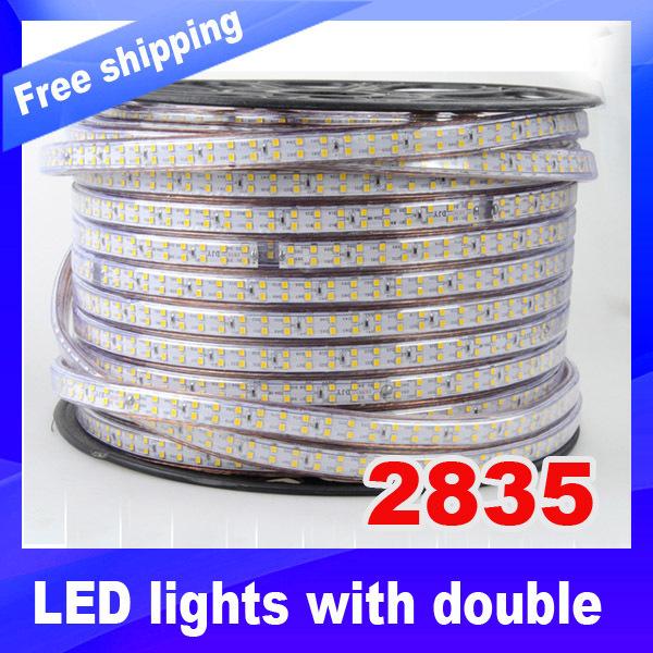 180Leds/m,900Les/5M,High bright SMD 2835 Led strip,Waterproof IP68 warm white/ White Double Row 220V Led flexible light(China (Mainland))