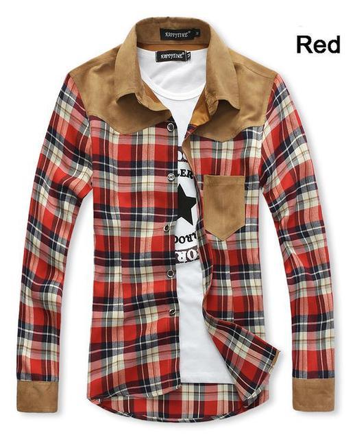 Бесплатная Доставка Новый Рубашек Mens + мужские Повседневный Slim Fit Стильный Горячая ...