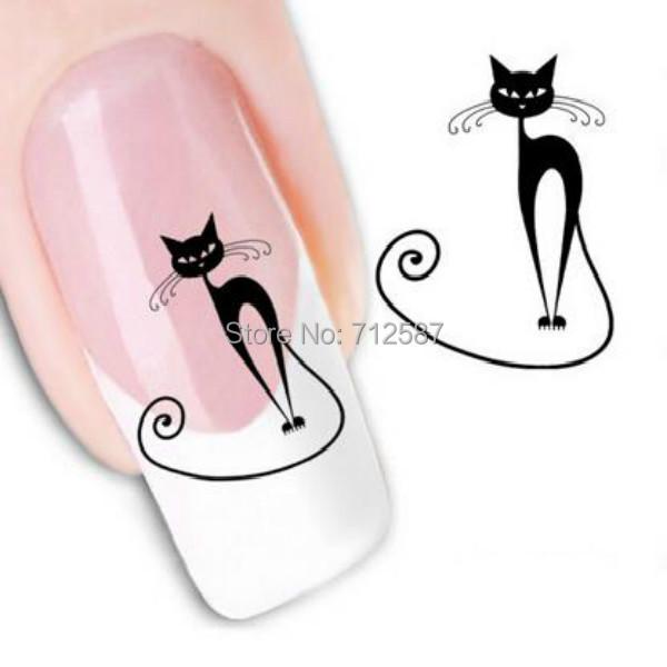 Japanese Style Watermark 1 Sheets 3D Design Cute DIY Black Cat Tip Nail Art Nail Sticker Nails Decal Nail Tools(China (Mainland))