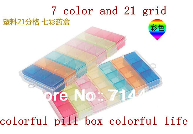 100% Brand New colorful 7 day medicine box pill splitter pill reminder case portable enough space for small articles(China (Mainland))