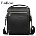 PADIEOE Brand Genuine Leather Bag Men Crossbody Shoulder Messenger Bags Business Handbags