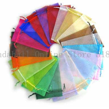 Free Shipping 200Pcs Mixed Color Organza Gift Bags /Jewelry Bag/Christmas/Wedding Gift Bag, about 10cm wide, 12cm long(China (Mainland))