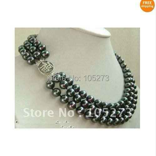 Surprising!Pearl Jewelry Fashion 3 strands Black color natural freshwater pearl necklace Womans jewelry Free Shipping FN203<br><br>Aliexpress