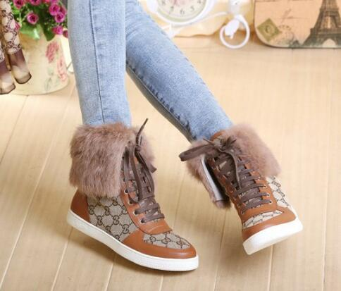 Фотография winter fur plush ankle boots retor style black brown women boots high top lace up hot selling shoes woman
