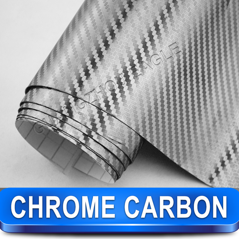 Chrome Silver Carbon Fiber Vinyl Wrap Car Sticker Film / Size 1.52 x 30 Meter / FREE SHIPPING New Arrival(China (Mainland))