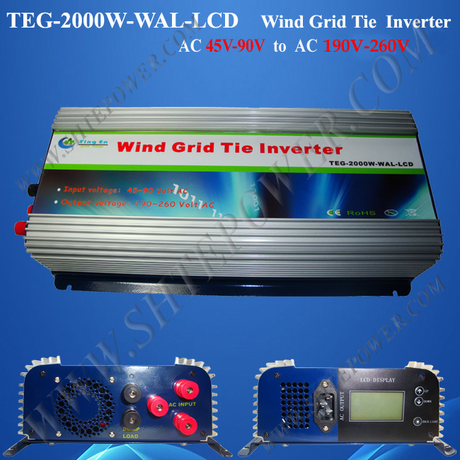 wind turbine 2 kw on grid tie power inverter ac 45-90v to ac 240v with lcd and dump load(China (Mainland))