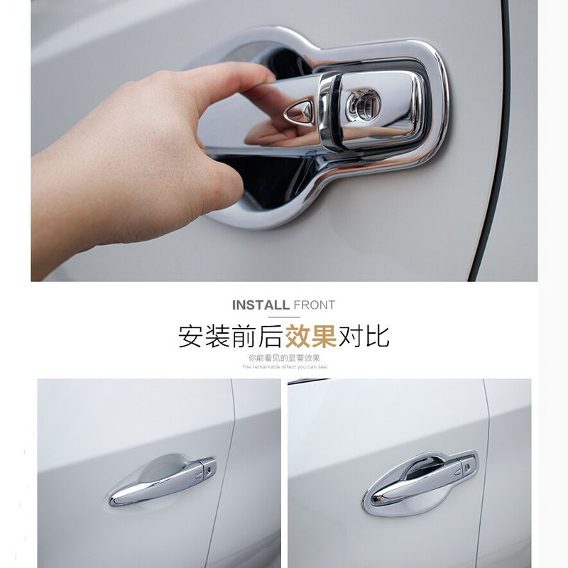 8 PCS DIY car styling New ABS Chrome outside handle door bowl light box cover case for Nissan 2015 murano auto part accessories