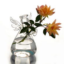 Hot Cute Clear Glass Angel Shape Flower Plant Stand Hanging Vase Hydroponic Home Office Wedding Decor(China (Mainland))