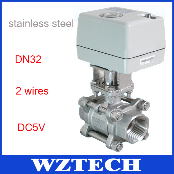 1 1/4'' 2 Way Stainless Steel Ball Valve With Aluminium Alloy Actuator 2 Wiring Control(China (Mainland))