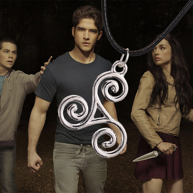 Teen Wolf Triskele Necklace leather rope with high quality pendant Allison Argent necklace Movies Jewelry free shipping