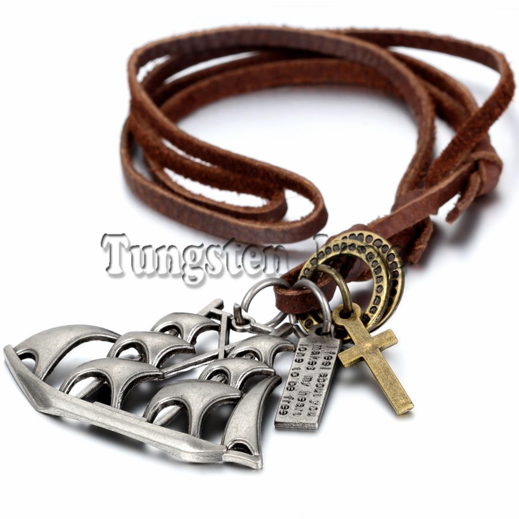 New Leather Necklace Punk Vintage Jewelry collares Sailing Cross Pendant Necklace for Men 80cm long Chain adjustable(China (Mainland))