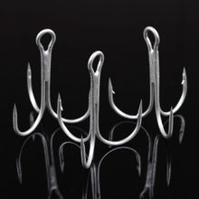 A11 100pcs/LOT Fishing Hook White/Black Overstriking Antirust Treble Hooks Fishhook Tackle VC134 P