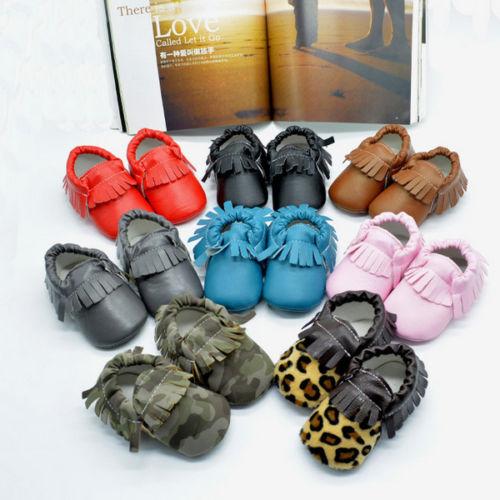 Lovely Boy Girls Infant Toddler Soft Fringe Leather Moccasins Soled Shoes 2 Size(China (Mainland))