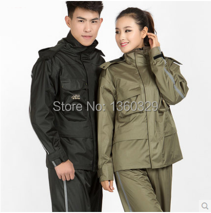 Fashion font b Burberry b font Qualiy Woman Man Hooded Raincoat Pants Set Bicycle Motorcycle Winter