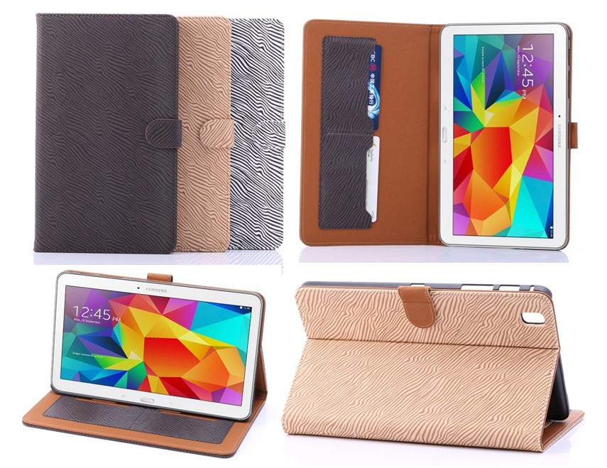 """For Samsung Galaxy tab pro 8.4"""" T320 Zebra PU Leather stand case with ID Card pouch smart cover free shipping(China (Mainland))"""
