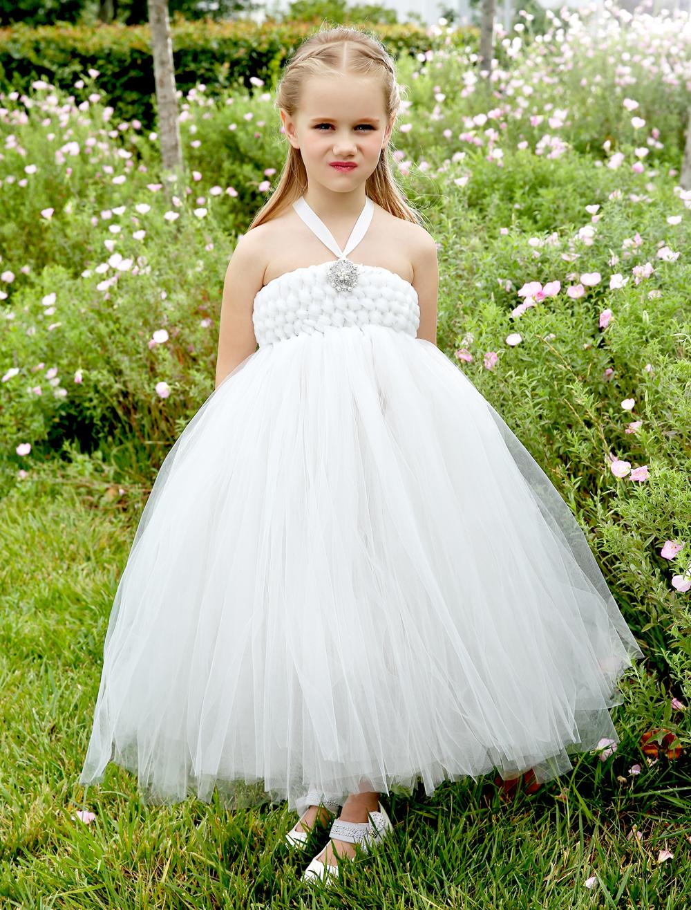 Fashion Ivory little girls dresses with rhinestones elegant kids girls Pageant Dress formal wedding flower girl dresses<br><br>Aliexpress