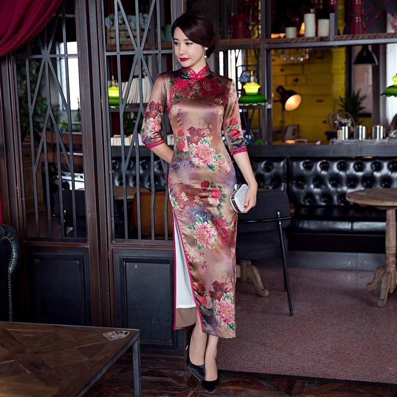 แฟชั่นสไตล์จีนชุดสตรีผ้าไหมCheongsamหรูหราบางเฉียบยาวพิมพ์QipaoขนาดSml XL XXL XXXL F090920 ถูก