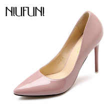 7.5/8.5/10.5CM Sexy Women's Fashion High Heels 2016 Fashion Patent Leather Shoes Women Pointed Toe OL Slip On Ladies Pumps(China (Mainland))