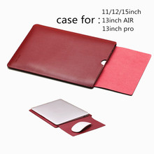 """Laptop Bag Case for Macbook Air Pro Sleeve 11 """" 12 13.3 Inch Notbook Leather Cover MAC Package Protection with Tongue Pad SL2"""