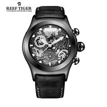 Reef Tiger/RT Chronograph Sport Watches for Men Skeleton Dial with Date Three Counters Design Luminous Swiss Watches RGA792(China (Mainland))