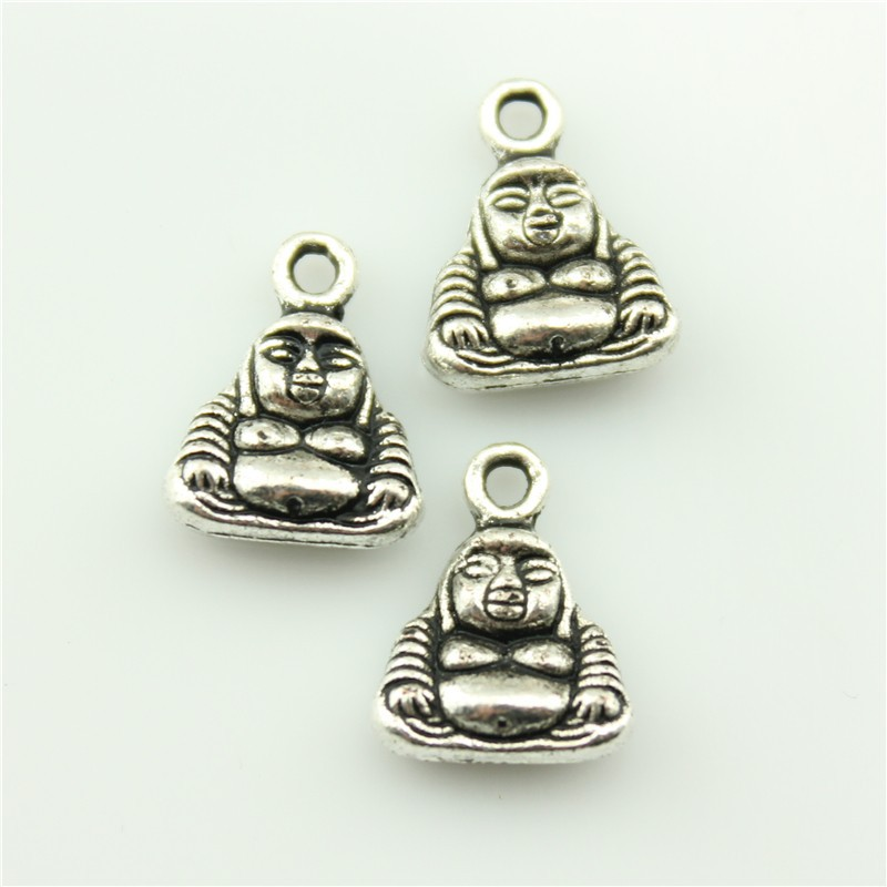 2014 New Fashion Hot Sale 10pcs double side buddha charms antique silver tone pendant B10288.jpg(China (Mainland))