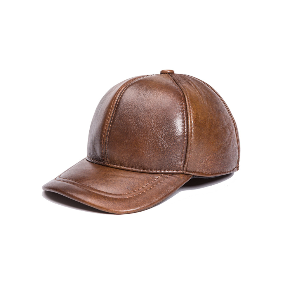 genuine leather hat cowhide baseball cap large