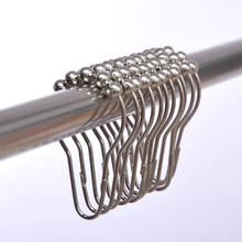 Free Shipping   1PCS Hoist   Shape Hook  5 Roller Ball Shower Curtain Rings Hooks  Bathroom Products(China (Mainland))