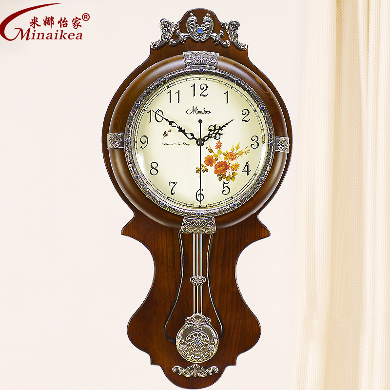 Large living room european style antique wood wall clock pendulum swing pastoral quartz table - Stylish pendulum wall clock ...