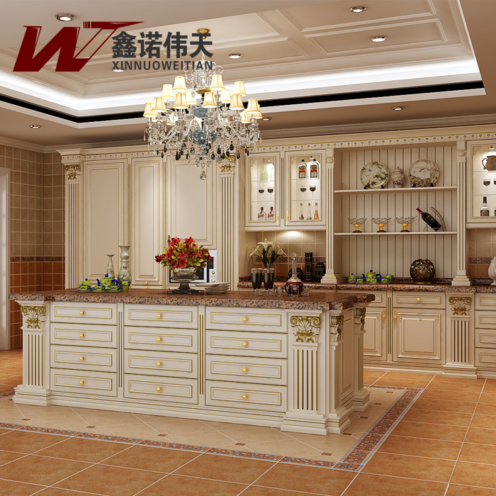 Red Cherry Wood Kitchen Cabinets: Red Cherry Solid Wood Modular Kitchen Cabinet Luxury