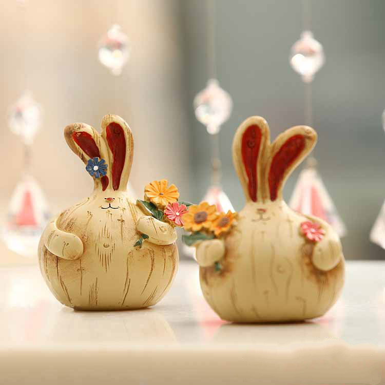 Easter crafts resin rabbit crafts ornaments birthday gift for Handmade things for decoration