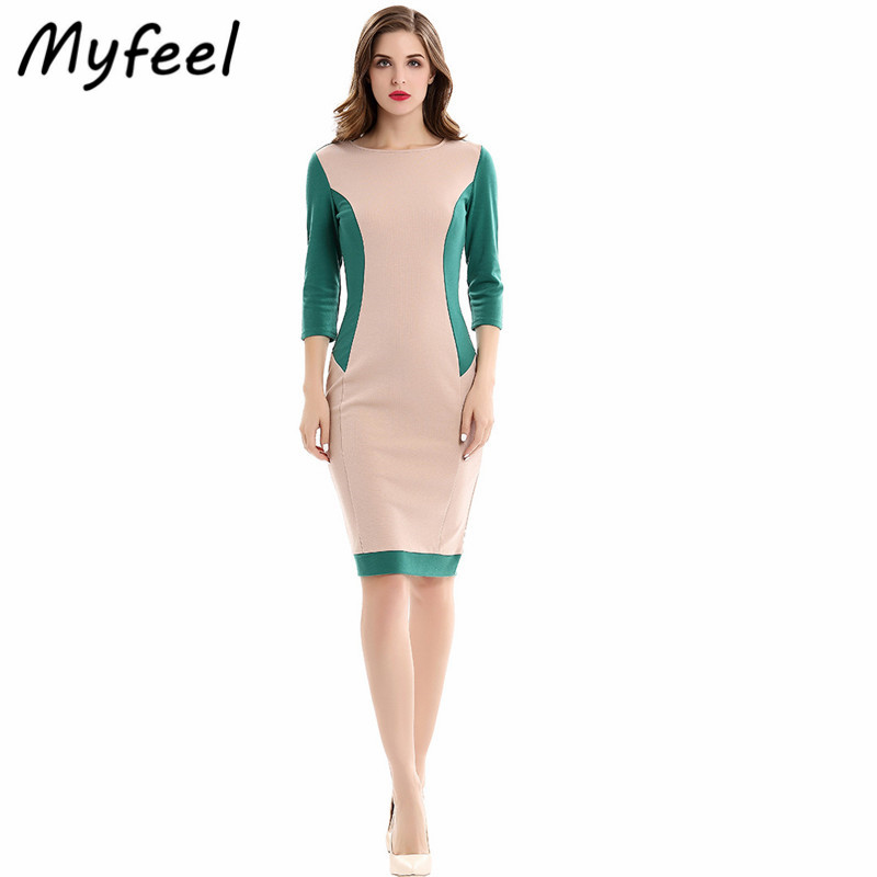 Myfeel Casual Work Attire Dress Summer Ladies Knee Length O-Neck Bodycon Sheath Fit Patchwork Pencil Knitted Office Dresses(China (Mainland))