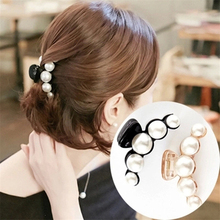 Korea Fashion Crab Hair Fascinator Hair Claws Imitation Pearl Lady Hair Accessories for Women Hairpins Plastic Elastic Barrette