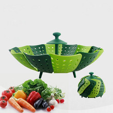 Plastic Folding Steamer Basket Non-scratch Silicone Food Cooking Microwave Steamer Fruit Vegetable Basket Kitchen Accessories