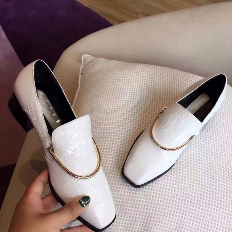 PLUS SIZE 34-43 Genuine leather Women Flat square toe Oxford Shoes Woman flats 2017 Fashion serpentine style Oxfords shoes women