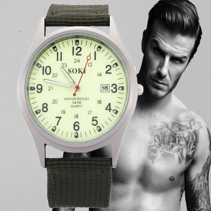 Гаджет  Watches Men Top Luxury Brand Soki Watch Military Amy Quartz Wristwatches Fashion male clock  Relogio Masculino Hours None Часы